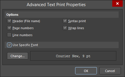 The Advanced Text Print Properties dialog