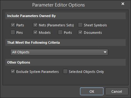 The Parameter Editor Options dialog
