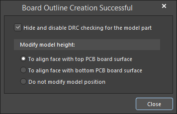 The Board Outline Creation Successful dialog