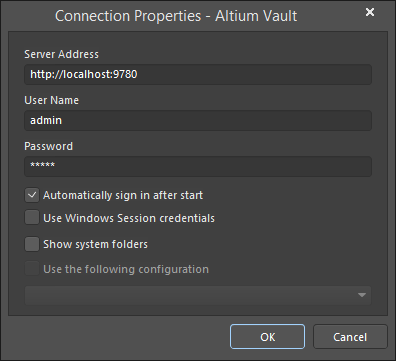 The Connection Properties dialog