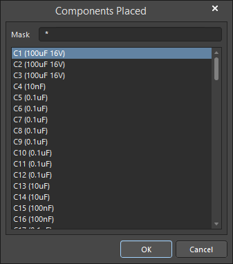 The Components Placed dialog