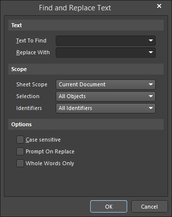 The Find and Replace Text dialog