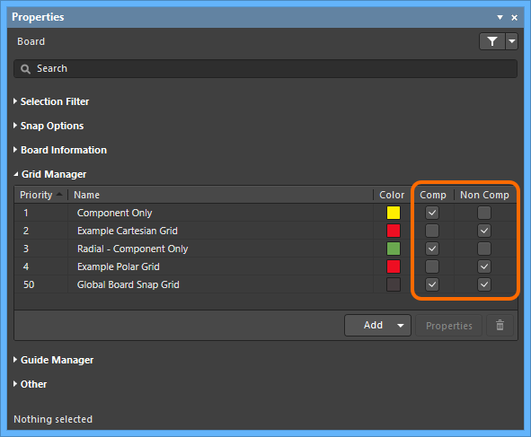 Use the Comp and Non Comp options to determine local grid application.
