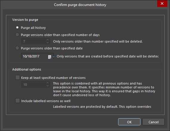 The Confirm purge document history dialog