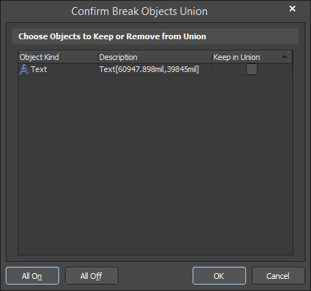 Confirm Break Objects Union (PCB) | Altium Designer 18 0 User Manual