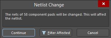 The Netlist Change dialog