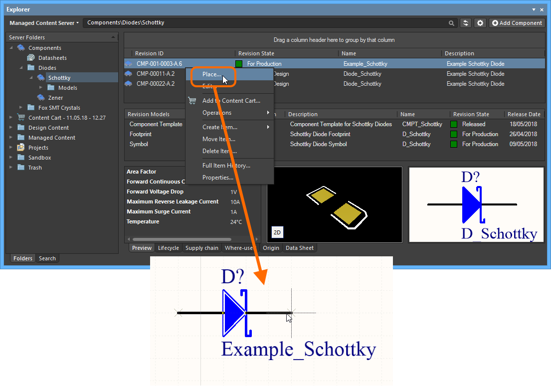 Working With Managed Components Online Documentation For Altium Circuit Symbol Schottky Diode Place A Component From The Explorer Panel Using Dedicated Command