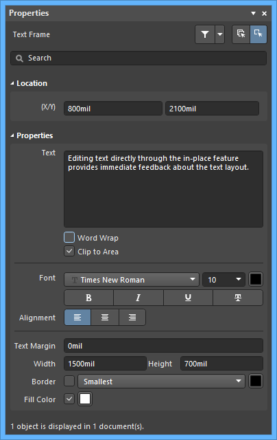 The Text Frame mode of the Properties panel