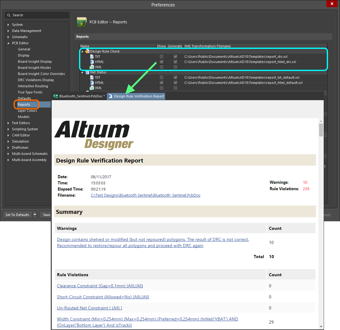 Design Rule Checking Online Documentation For Altium Products Images Setup Schematics Results Generate A Drc Report As Part Of The Batch Process