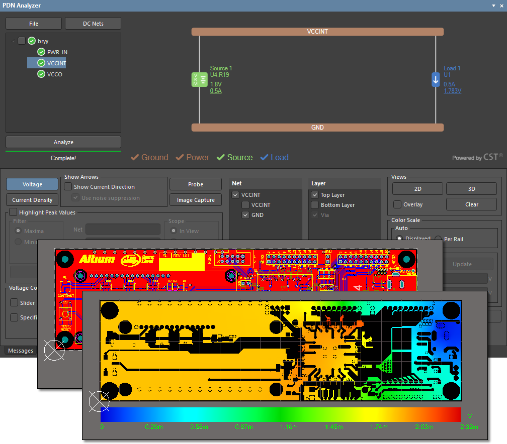 Pdn Analyzer Online Documentation For Altium Products By Interactions Of A Basic Circuitry With X Current And Voltage The Interface Shown Designer Spirit Level Example Pcb Results Pi Dc Drop Simulation Its Top Layer Gnd