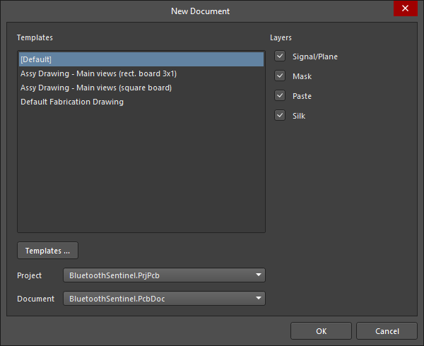 The New Document dialog
