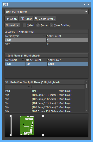 The Split Plane Editor mode of the PCB panel