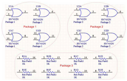 Example of packaged components when the Strictly option is unchecked.