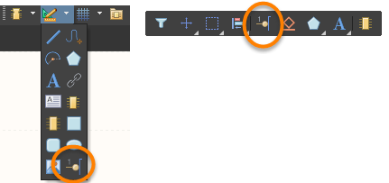The Place Pin button on the Utilities toolbar drop-down (left) and the Active Bar (right)