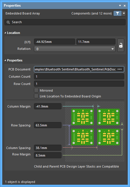 The Embedded Board Array mode of the Properties panel