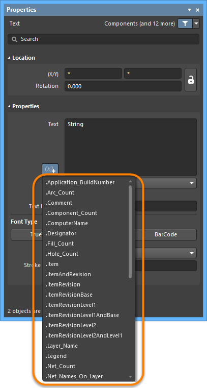Accessing special strings for a placed string object.