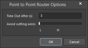 The Point to Point Router Options dialog