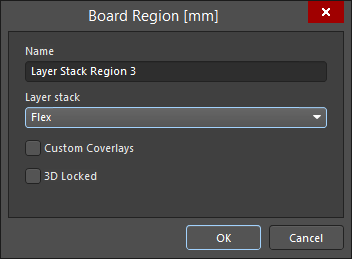 A board region's nameand its assigned layer stackup are defined in the Board  Region dialog. One region should be locked as a 3D reference.