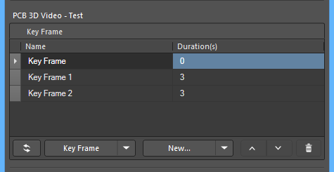 Key frames are defined and detailed in the panel.
