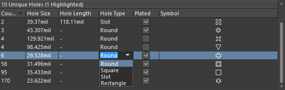 Changing the hole type for the selected group of six matching hole styles.