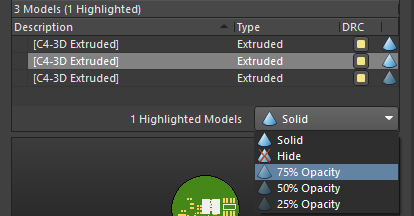 The selected model being set to 75% Opacity. Multiple models can also be selected and changed in one step.