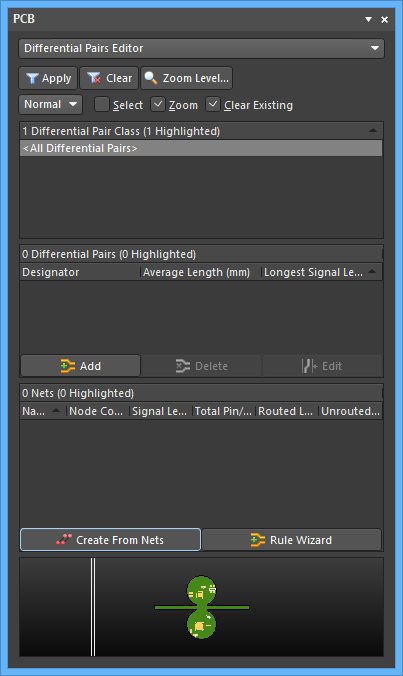 The Differential Pairs Editor mode of the PCB panel
