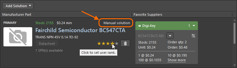 Use the manual solution feature when the part does not include supply chain details.