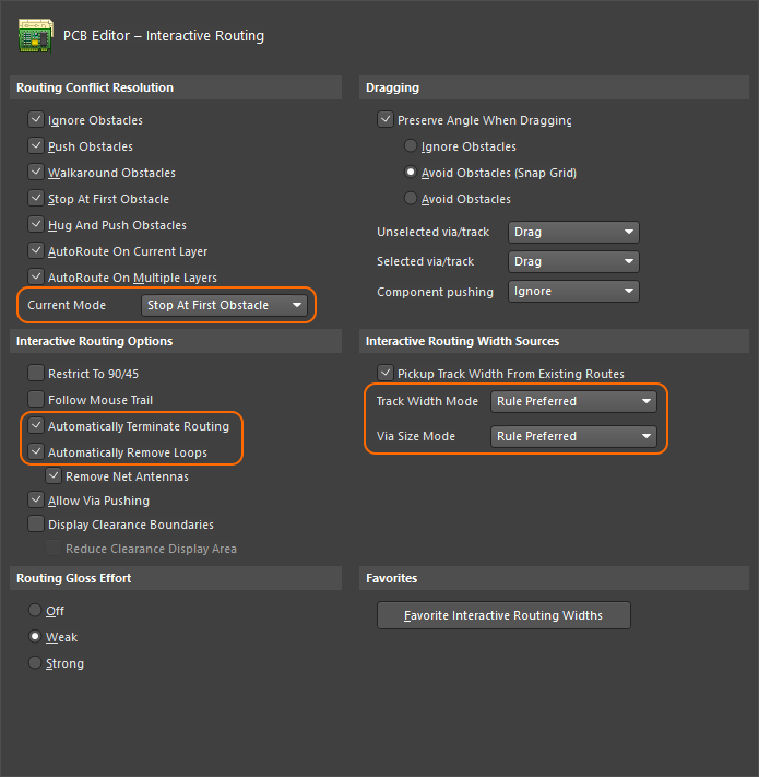 Configure the interactive routing options.