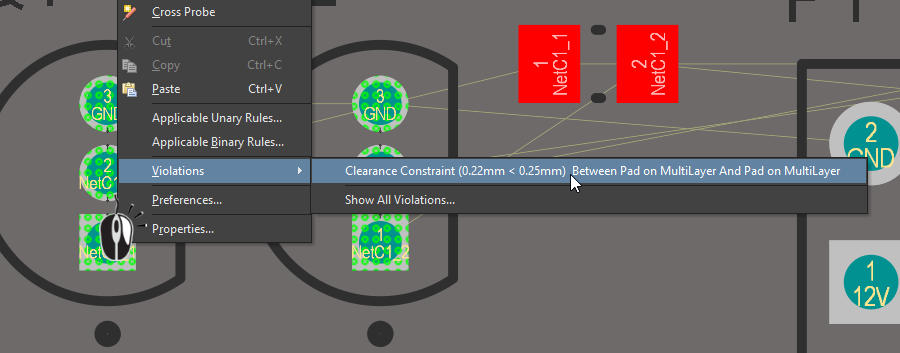 Right-click on a violation to examine what rule is being violated, and the violation conditions. In this image the display is in single layer mode, with the Top Layer as the active layer.