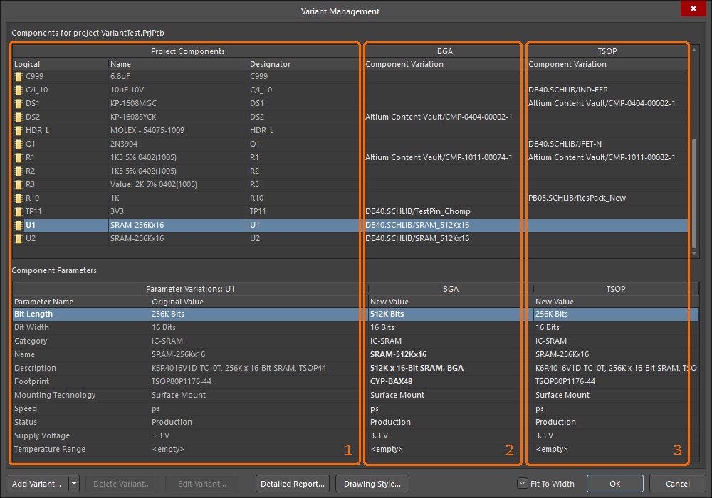 Variant Management dialog, two variants defined