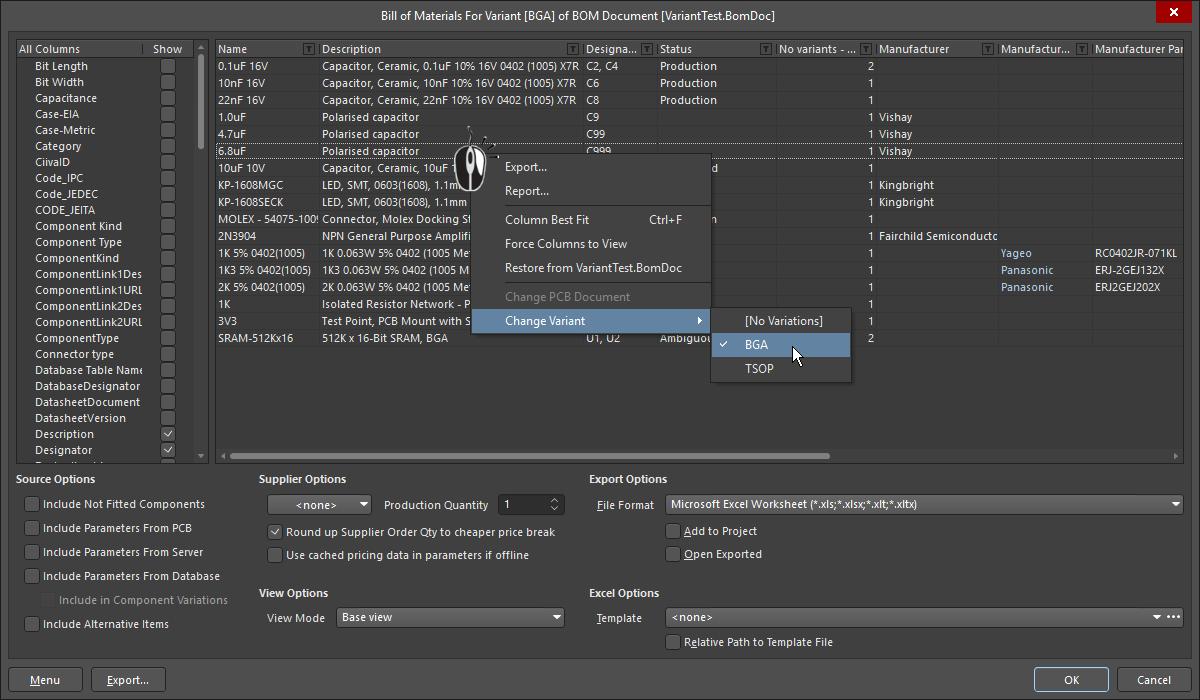 Design Variants | Altium Designer 18 0 User Manual | Documentation
