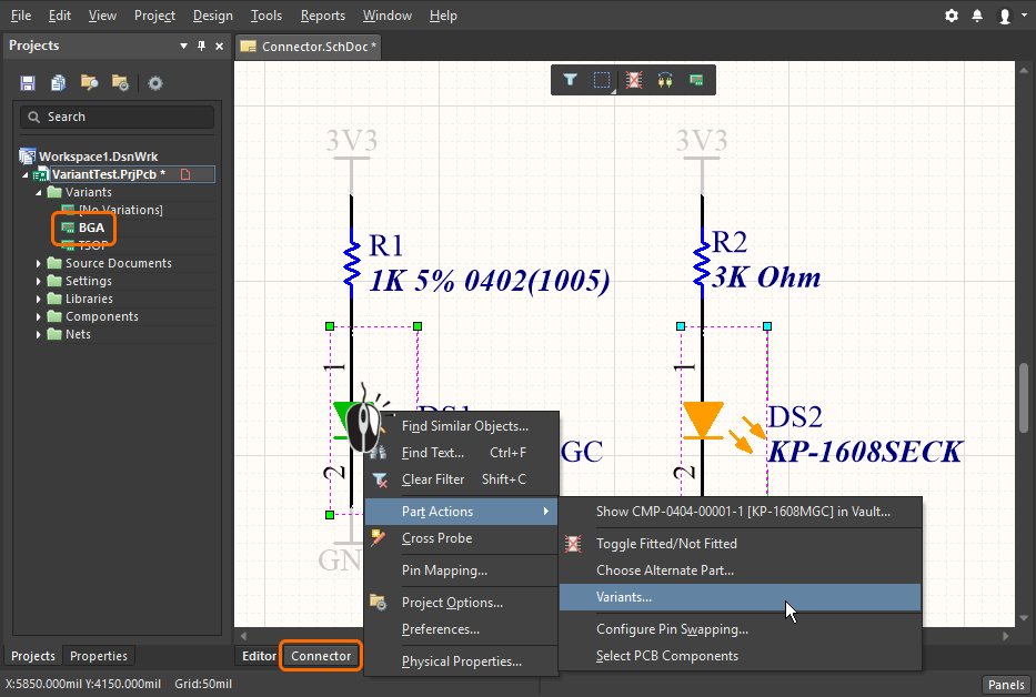 Modifying the variant properties of components selected on the schematic