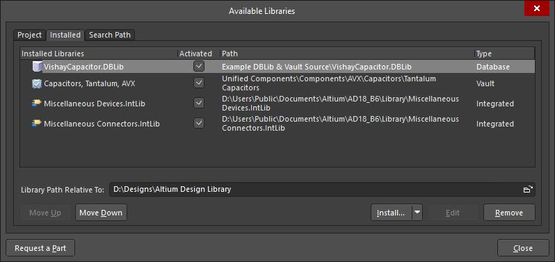 На вкладке Installed перечислены библиотеки, которые были сделаны доступными для этой установки системы Altium.