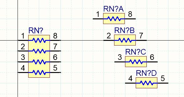 Одна и та же резисторная матрица как единый символ слева и как четыре отдельных секции справа.