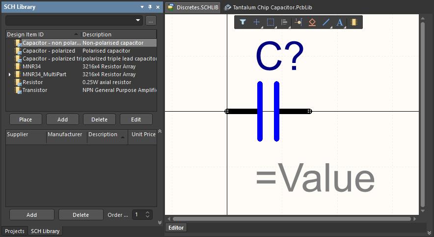 Библиотеки схемных символов и посадочных мест являются местом хранения соответствующих моделей. Наведите курсор на изображение, чтобы отобразить библиотеку посадочных мест.