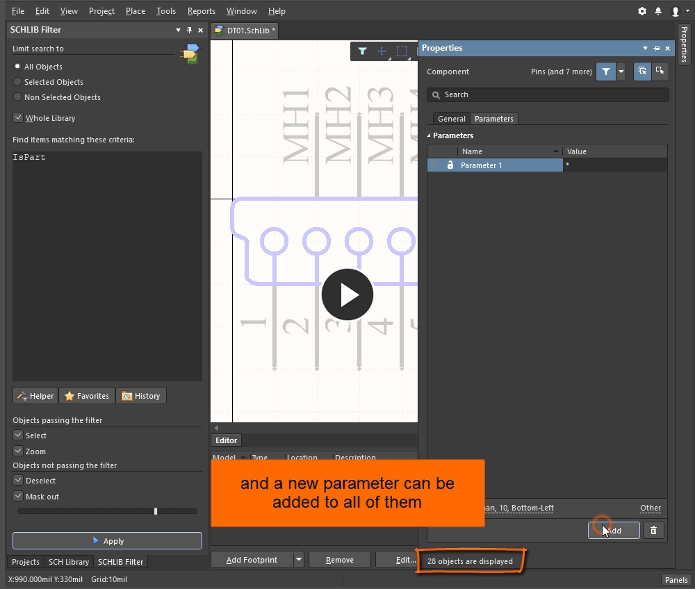 Demonstration video showing a new parameter being added to all parts in a schematic library