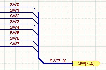 Для создания корректной шины должны присутствовать все элементы, показанные на изображении выше. Объекты Bus Entry необходимо использовать, только если вы хотите разместить различные элементы шины по разные стороны от линии Bus.