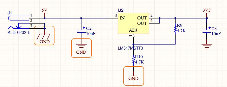 Именно имя цепи определяет, к какой цепи будет подключен порт питания, а не стиль символа. На изображении выделены три порта питания, и они все подключены к цепи питания GND.