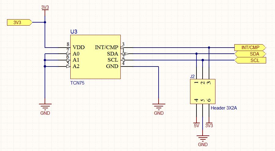 Здесь присутствует цепь питания 3V3, которая была локализована только этим листом, поэтому ее связи необходимо задать на родительском листе вручную. Цепи GND и 5V остаются глобальными цепями питания.