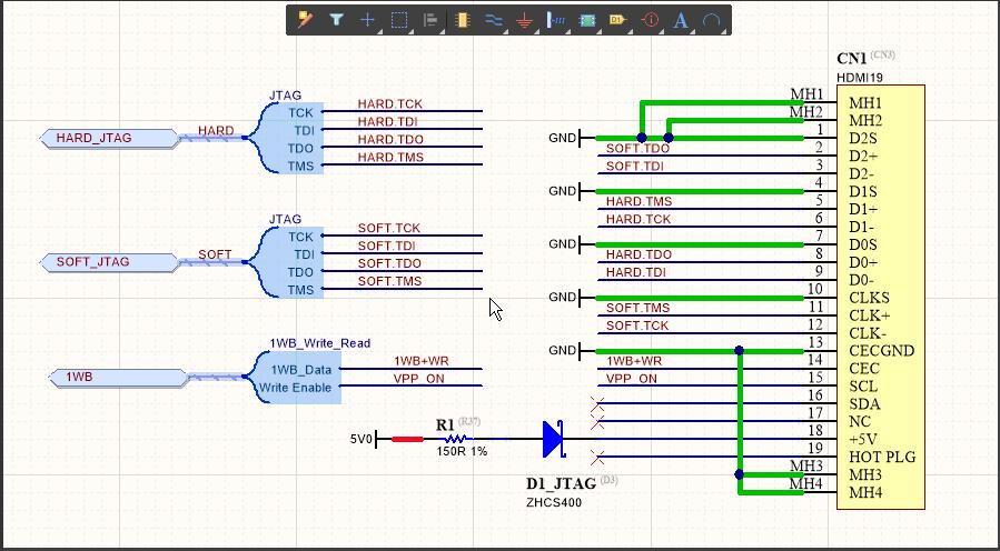 Сигнальным жгутам JTAG заданы имена на уровне жгута, определенные наличием объектов Net Label HARD и SOFT. Заданные системой имена цепей показаны на изображении ниже.  У сигнального жгута 1WD_Write_Read нет заданного на уровне жгута имени, поэтому его цепи сохраняют имена объектов Net Label.