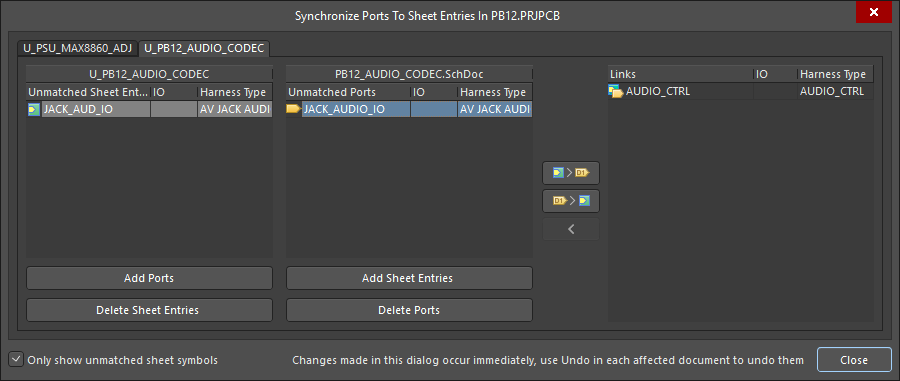 The Synchronize Ports to Sheet Entries dialog is used to ensure that the Sheet Entries match with the Ports on the child sheet.  Note the two tabs;that means there are two Sheet Symbols that have Sheet Entry / Port mismatches in this design.
