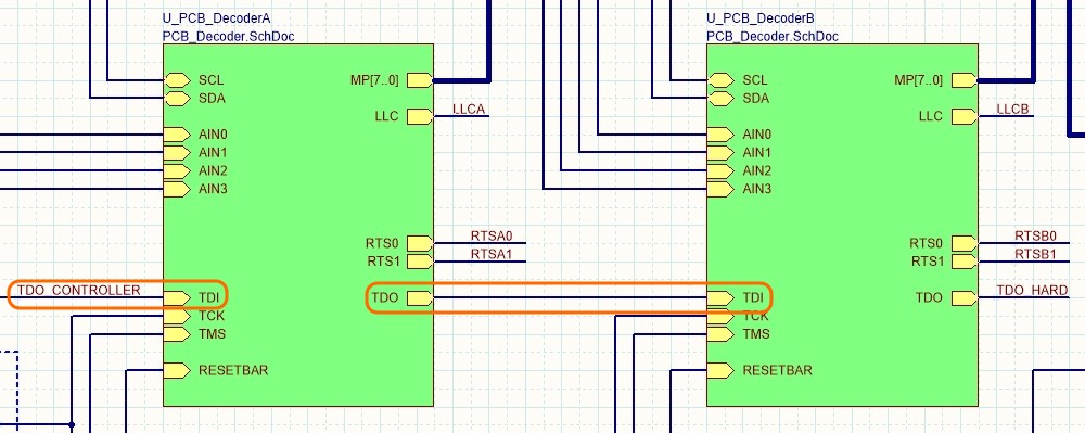 The two decoder channels are created by placing 2 Sheet Symbols, that both reference the same schematic, PCB_Decoder.SchDoc.