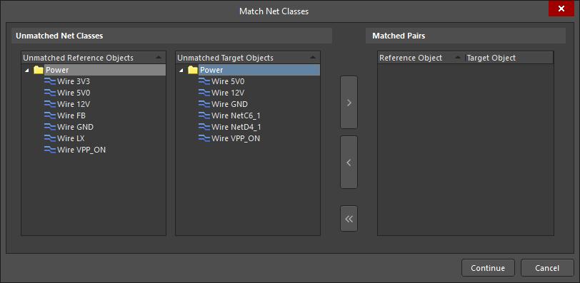 Match Net Classes dialog