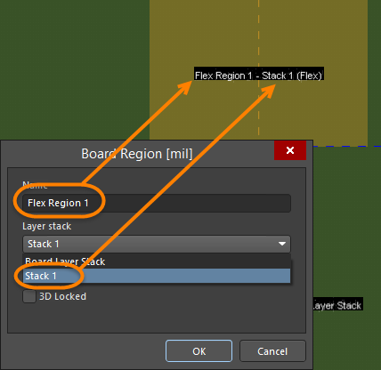 Double-click on a board region to define the region's name and assign a layer stack.