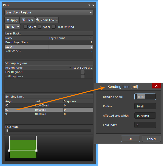 In The Bending Line Dialog Edit Two Of First Three Properties For Example Radius And Angle Third Property Will Be Calculated
