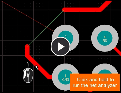Note how the GND net connection line is attached to pad 1 instead of the end of the route, once  Smart Track Ends has been enabled and an edit performed, the connection line jumps to the end of the route.