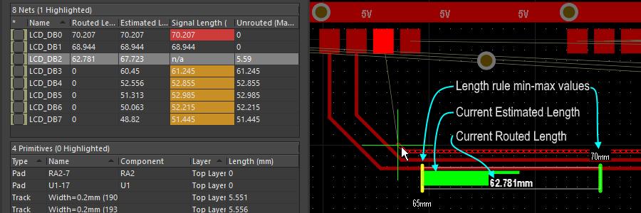 Length デザインルールとして表示されたゲージは、インタラクティブ配線中に順守されます - 現在の Routed length を数字で示し、緑のスライダーは、現在の Estimated Length を示します。
