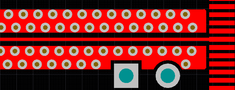 Shielding vias around a net with the clearance cutout option enabled, move the cursor over the image to disable the clearance cutout option.