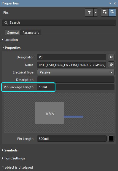Enter the pin-package length, with the required units.
