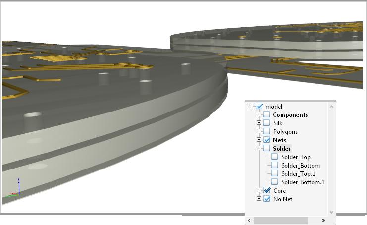 Отображение конструкции с отключенными компонентами и шелкографией, что показывает степень возможностей управления 3D, доступного в Acrobat Reader.